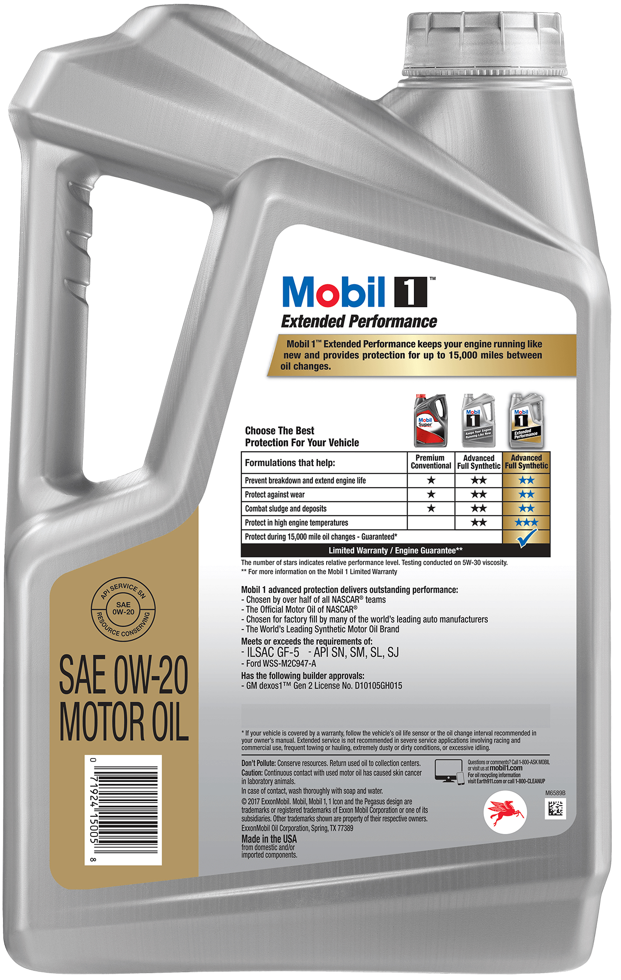 0W-20 MOBIL 1 EXTENDED PERFORMANCE MOTOR OIL - 5LITERS